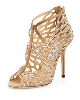 Jimmy Choo Fyonn Strass Caged Bootie, Nude