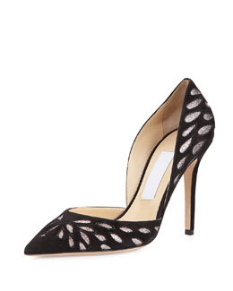 Jimmy Choo Daysha Cutout Suede Pump, Black
