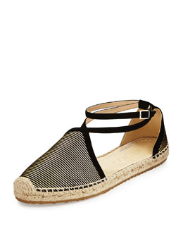 Jimmy Choo Donna Metallic Striped Espadrille, Black/Gold