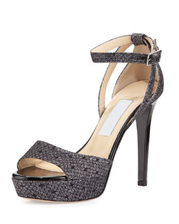 Jimmy Choo Kayden Glittered-Lace Sandal, Black/Anthracite