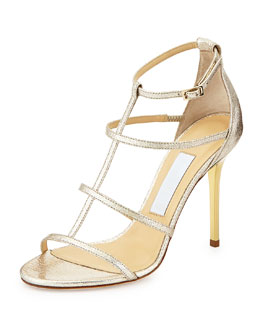 Jimmy Choo Dory Strappy Textured Metallic Sandal, Nude