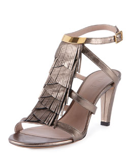 Chloe Daniella Crisscross Fringe Leather Sandal