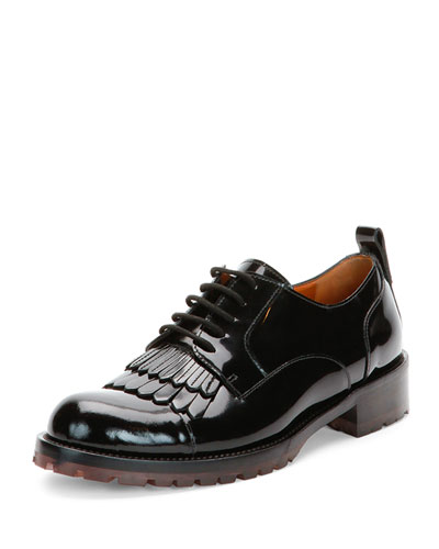 Fringe-Front Patent Lace-Up Oxford Shoe