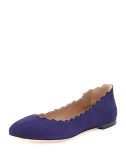 Chloe Scalloped Suede Ballerina Flat, Storm Blue