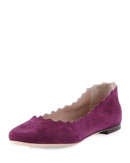 Chloe Scalloped Suede Ballerina Flat, Ultra Violet