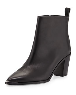 Loma Leather Point-Toe Ankle Boot, Black