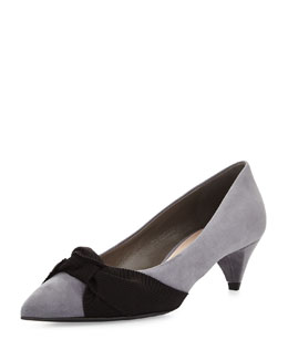 Miu Miu Bow-Detailed Suede Mid-Heel Pump, Gravel