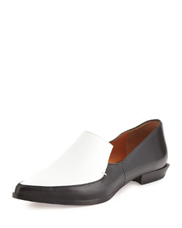Derek Lam 10 Crosby Agatha Contrast Leather & Canvas Loafer
