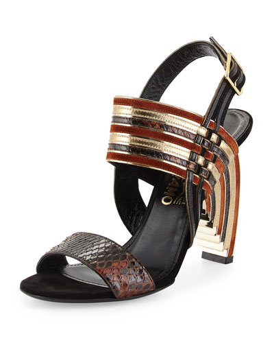 Lenny Python & Mixed Leather Geometric Sandal