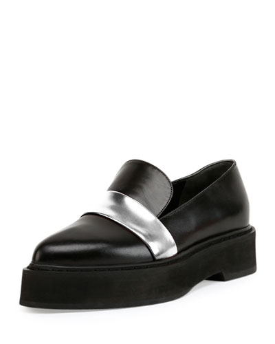 Two-Tone Leather Platform Loafer, Black/Silver