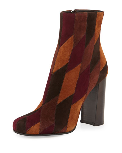 Patchwork Suede Ankle Boot