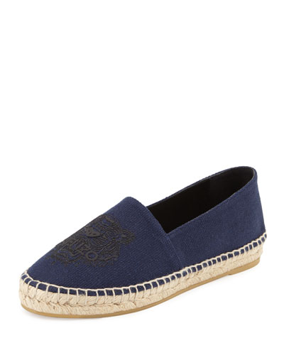 Tiger-Embroidered Canvas Espadrille Flat, Blue