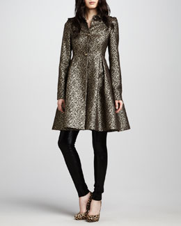 Alice + Olivia Connie Metallic Flounce Coat & Leather Leggings
