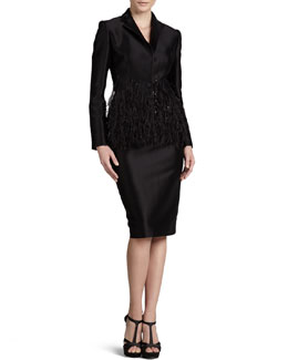 Carolina Herrera Twill Blazer & Pencil Skirt
