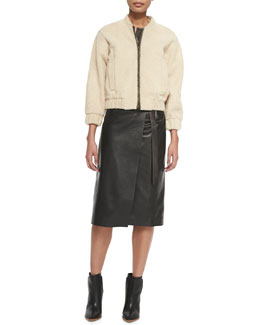 Reed Krakoff Shearling Fur Bomber Jacket & Long Leather Wrap Skirt