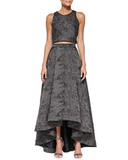 Alice + Olivia Kesten Sleeveless Jacquard Crop Top & Cohe Shimmery Jacquard A-Line Skirt