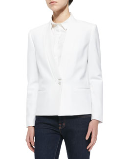 J Brand Ready to Wear Emily Long-Sleeve Crepe Blazer & Louise Fitted Long-Sleeve Blouse