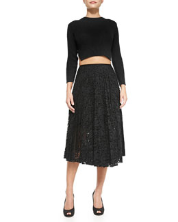 Theory Kamboe Ribbed Knit Crop Top & Zeyn Pleated Lace A-Line Skirt