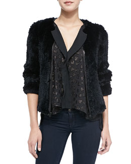 Alice + Olivia Bruden Shimmery-Heart Draped Top & Duncan Rabbit Fur/Lambskin Jacket