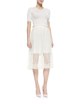 Lela Rose Pearl-Beaded Short-Sleeve Sweater & Net Lace Midi-Length Skirt