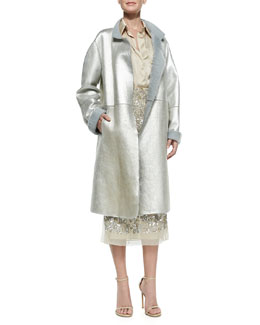 Donna Karan Metallic Leather Topper Coat, Rolled-Sleeve Sateen Shirt & Embroidered Midi Skirt