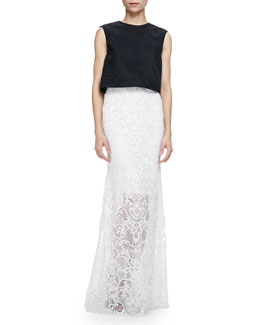 Monique Lhuillier Sleeveless Floral Mesh Crop Shell & Guipure Lace Overlay Skirt