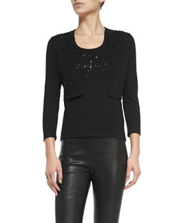Carolina Herrera Beaded Knit Boler & Front-Beaded Knit Shell, Black