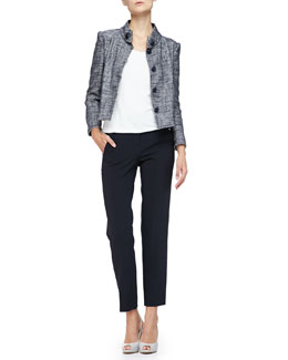 Micro-Pattern Cropped Jacket with Button-Band Collar & Textured Jersey Scoop-Neck Tee