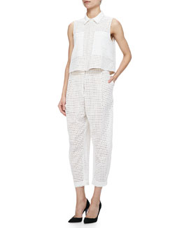 Elle Sasson Cisco Sleeveless Eyelet Top W/ Pockets & Bleak Cropped Eyelet Pants