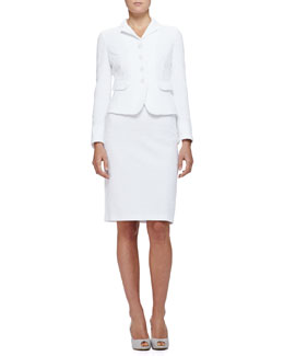 Armani Collezioni Cotton Boucle Suit Jacket & Pencil Skirt