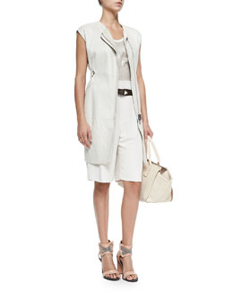 Brunello Cucinelli Long Velour Shearling Fur Vest, Lamé Tank with Net Overlay, Belted Crepe Walking Shorts & Loop-Close Textured Leather Belt
