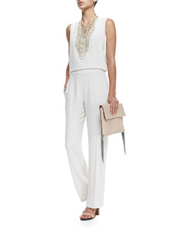 Brunello Cucinelli River Stone Multi-Strand Necklace & Sleeveless Crepe V-Neck Jumpsuit
