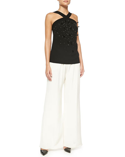 Embellished-Front Halter Blouse & Wide Leg Pants
