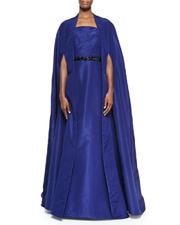 Pamella Roland Silk Faille Opera Cape Coat & Strapless Mermaid Gown