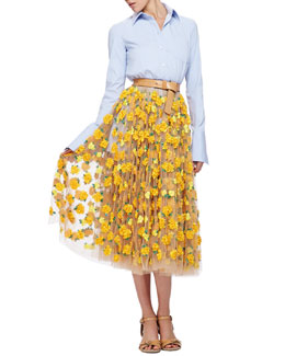 Michael Kors French-Cuff Poplin Blouse & Marigold Embroidered Tulle Skirt
