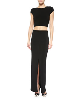 Alice + Olivia Twist-Back Jersey Crop Top & Side-Slit Slim Maxi Skirt