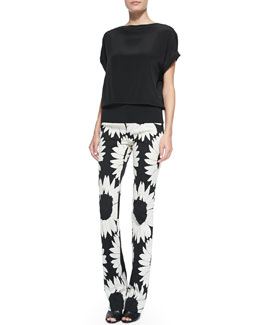 Alice + Olivia Banded-Hem Satin Top & Eddie Floral-Print Boot-Cut Pants