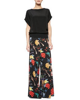 Alice + Olivia Banded-Hem Satin Top & Floral-Print Flared Pants