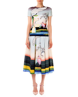 Mary Katrantzou Short-Sleeve Fitted Flamingo Tee & Long Skirt