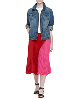 Theory John Faded Denim Jacket, Cropped Crewneck Classic Tee & Zeyn Colorblock Pleated Skirt