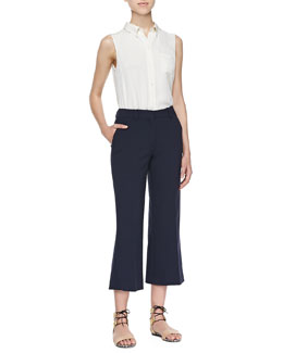 Theory Yarine Sleeveless Silk Blouse & Yuranda Cropped Sleeveless Top