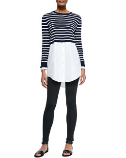 Theory Rymalia Striped Cropped Sweater w/Underlay & Pail Pull-On Jersey Leggings