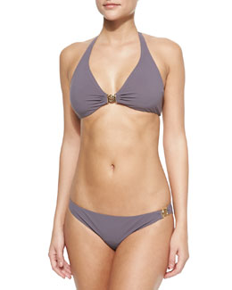 Tory Burch Logo Halter Swim Top & Low-Rise Logo Swim Bottom