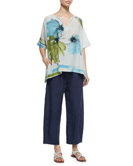 Loro Piana Shirlee Blooming Flower-Print Silk Blouse & Linen Delave Drawstring Casual Pants