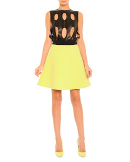 Fausto Puglisi Laser-Cut Leather Top & Two-Tone A-Line Skirt