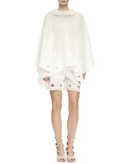 Chloe Eyelet Lace Hooded Poncho & Eyelet Lace Shorts, Milk