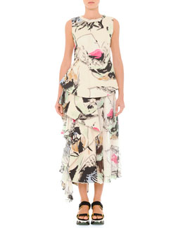 Marni Abstract Printed Top & Skirt with Side Flounce