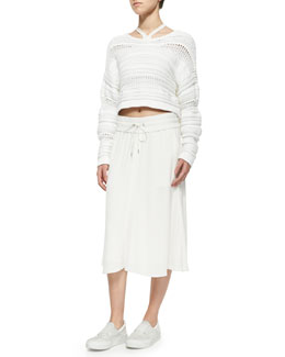 Helmut Lang Mixed-Knit Cropped Pullover Sweater, High-Neck Cut-In Sports Bra & Blaze Pull-On Drawstring Skirt