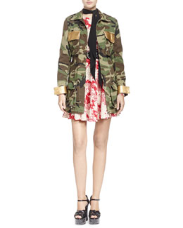 Saint Laurent Camouflage Belted Military-Style Jacket, Draped Kimono Floral Dress & Embellished Leather Belt with Round Buckle