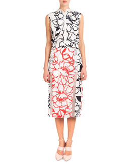 Nina Ricci Sleeveless Button-Down Floral Blouse & Bicolor Floral Midi Skirt